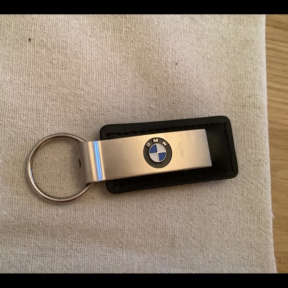 New BMW Black Leather & Metal Keychain with Ring